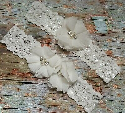 Ivory White Wedding Garter Set ( keepsake & toss) Bridal Prom , Rustic Shabby,S1