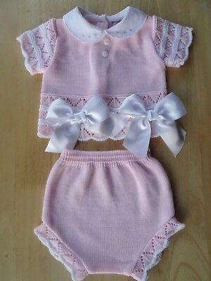 Spanish Style Baby 2Pcs Fine Knit Crochet Set Top Knickers Large Bow 0-3-6-9m