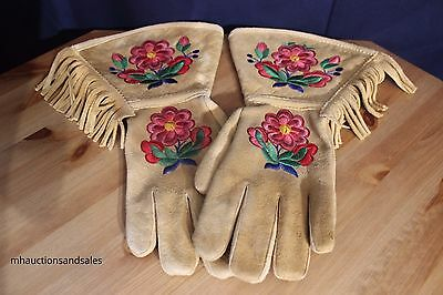 Canadian  Indian Gauntlets Embroidered With Flowers