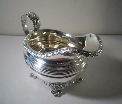 A Large Nicely Decorated Antique George IV Silver Milk / Cream Jug : London 1825