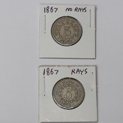 #361 - 5 Cents Nickel SET - Shield 1867 With Rays, and Without Rays - F