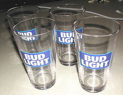 Bud Light New Design Pint Beer Glasses Set - New - Set Of 4 (Four)