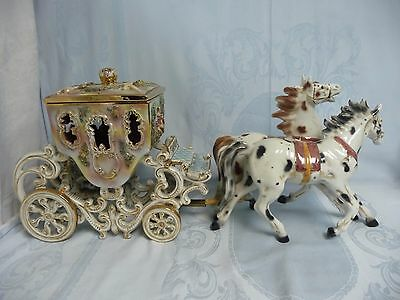 Beautiful Vintage Capodimonte Carriage With Horses