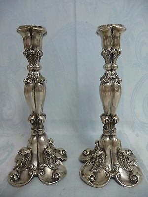 Beautiful Pair Of Antique 800 Continental Silver Candlesticks