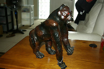 """VINTAGE Rare LARGE LEATHER Gorilla APE  STATUE  MADE IN INDIA 12"""" tall"""