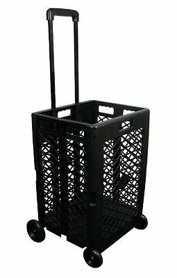 Shopping Cart With Wheels Grocery Folding Rolling For Seniors Durable Plastic