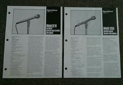 2- Vintage Electro-Voice Product sheets- RE10, 635A circa 1983?