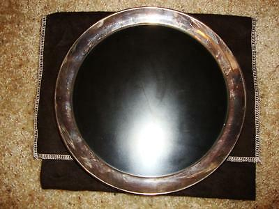"""Art Deco Gorham Sterling Silver with Black Laminate Insert Cocktail Tray 10"""""""