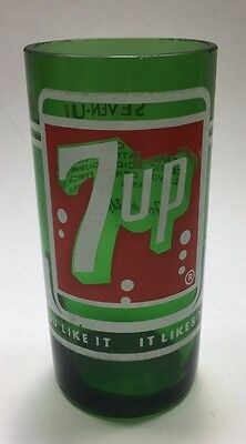 Vintage 7 Up Glass Green 1968 Soda Drinking Glass Cut From Bottle