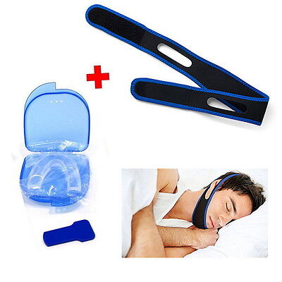 Stop Snoring MouthPiece Sleep Apnea Guard TMJ + Anti Snore Chin Strap Belt UI