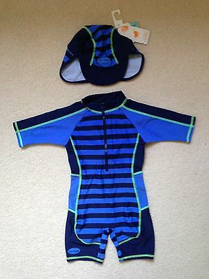 Boys Boots Mini Mode Swimsuit /Sun Suit And Matching Sun Hat (18-24 Months) BNWT