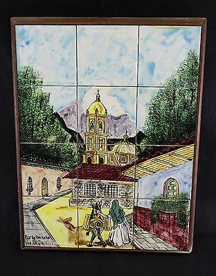 Cert Art Davalos 12 Tile Mural Mission Mexican Village Scene Woman Mule 17 x 13