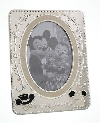 Disney Parks Minnie & Mickey Mouse Wedding metal Picture Photo Frame Bride Groom