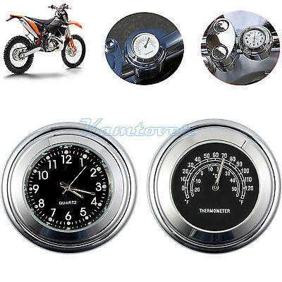 "2x 7/8""1"" Motorcycle Bike Handlebar Chrome Dial Clock Temp Thermometer Dirt Bike"
