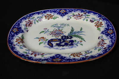 """Antique Mid-19th Century Smith's New Stone Hand Painted Platter; England 15"""""""