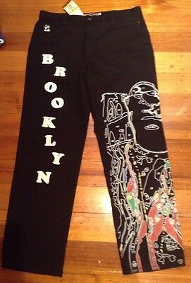 90s Vintage Black Denim Pants Brooklyn Mint New York Sizes 36 Inch Hip Hop Jeans