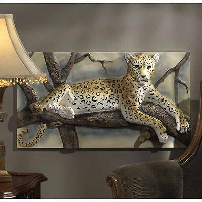 "Design Toscano 33"" Wide Leopards Lair Three Dimensional Sculptural Wall Frieze"
