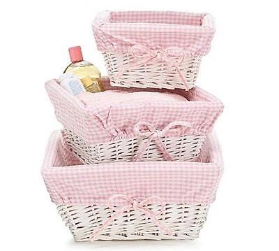 Nursery Storage Baskets Baby Girl Pink White Set 3 Organizer Kids Room New
