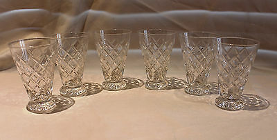 CRYSTAL HAND CUT 6 x SHERRY GLASSES - USED - IN PERFECT CONDITION