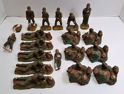 Lot of 18 Vintage 1950 JH Miller Soldiers Chalkware Plaster Toy Military Figures