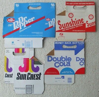 4 Unused Vintage Soda Bottle Cartons Dr Pepper, Sunshine, Sun Crest, Double Cola