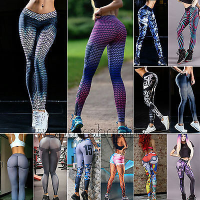 Womens Sports YOGA Workout Gym Fitness Leggings Stretchy Pants Athletic Clothes