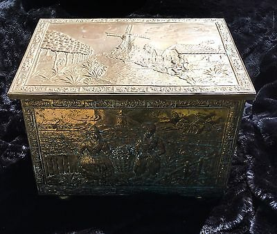 Antique Brass Repousse Dutch Hearth/Scuttle/Kindling Box - Windmill and Children