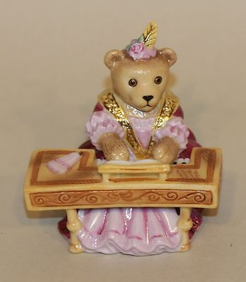 Halcyon Days Figurine Teddy Bear Orchestra Lady Ermintrude Plays Harpsichord