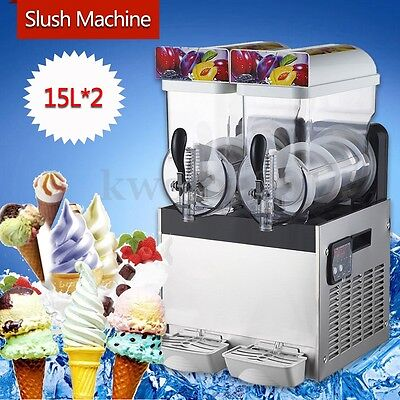 2*15L Tank Frozen Drink & Slush Slushy Making Machine Juice Smoothie Ice Maker