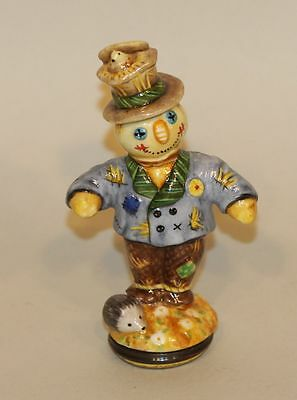 Halcyon Days Enamel Trinket Box Scarecrows Straw Figure Cornfields Cunning Crow