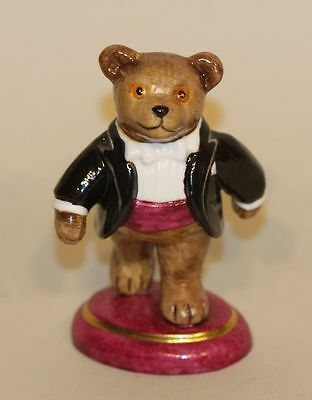 2002 Halcyon Days Teddy Bear of the Year Figurine Black Coat Purple Cummerbund