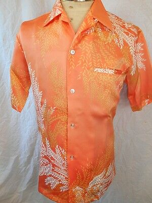 Vintage Coral Short Sleeve Malihini for Andrade Fern Print Tiki Hawaiian Shirt S