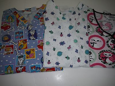 Womens Lot Of Scrub Tops Size 3X  Vet Themed  Cats, Dogs, Bugs (Box371)