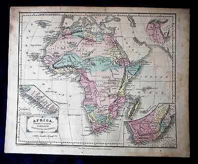 MAP AFRICA Cornell's Geography 1855 color inset Libera S Cape Africa Suez