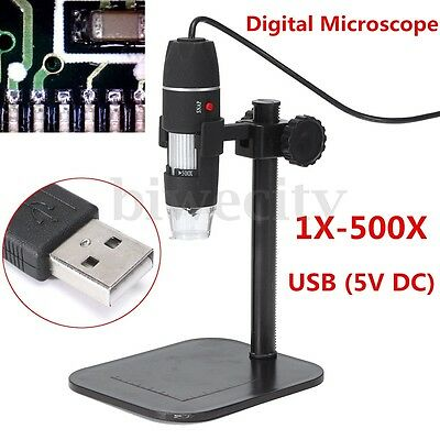 5MP 8 LED USB Digital Camera Microscope Magnifier Black Stand 1X-500X 5V DC