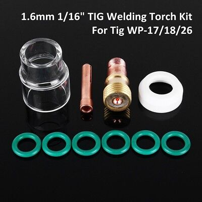 """10x 1.6mm 1/16"""" TIG Welding Torch Stubby Gas Lens #12 Pyrex Cup For WP-17/18/26"""