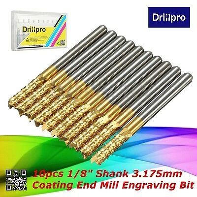 "10Pcs 1/8"" 3.175mm Carbide End Mill Titanium Coated CNC Router PCB Engraving Bit"