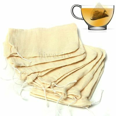 10/50/100x 8x10 Large Cotton Muslin Drawstring Reusable Bags for Soap Herbs Tea