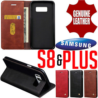 Samsung Galaxy S8 & Plus GENUINE LEATHER MAGNETIC Case Cover Flip Wallet Card