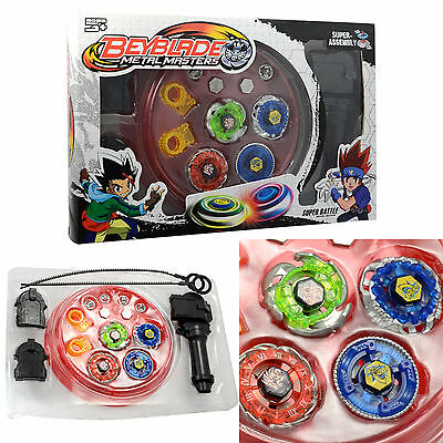 4D Fusion Top Metal Master Rapidity Fight Rare Beyblade Launcher Grip Set Toy