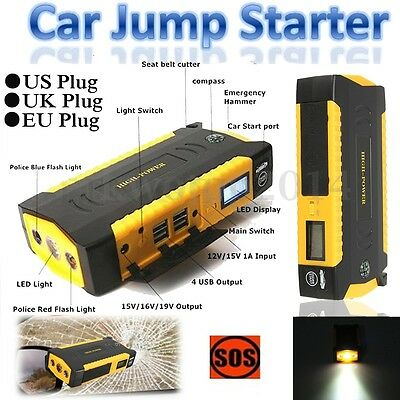 12V 82800mAh 4 USB Car Jump Starter Emergency Charger Booster Battery Power Bank