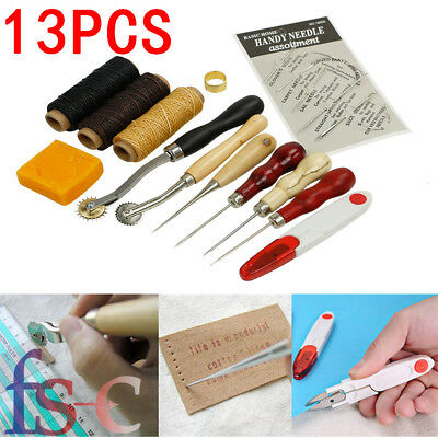 13X SET Leather Craft Hand Stitching Sewing Tool Thread Awl Waxed Thimble Kit