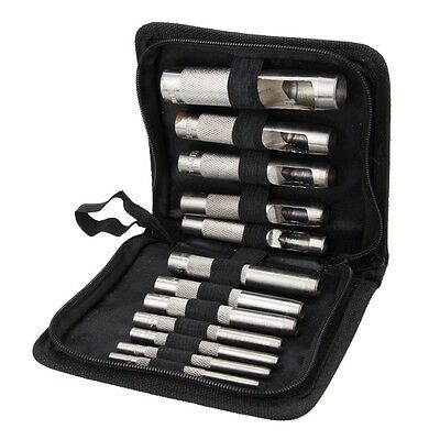 "12pcs Heavy Duty Leather Hollow Hole Punch Set 1/8""-3/4"" Vinyl Gasket with Case"