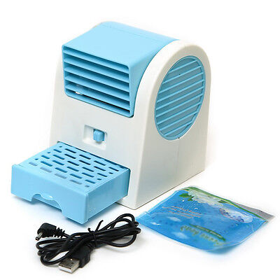 Adjustable Angles USB Electric Air Conditioning Mini Fan Air Cooler Blue F9U5