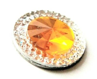anneys ~ GOLF  BALL  MARKER - * resin rhinestone - clear/yellow * ~