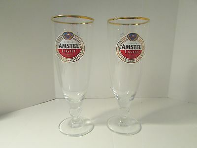 Amstel Light Beer Set Of 2 Chalice Glasses W/ Gold Rims New