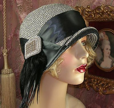1920's Style Vintage Black Cream & Gold Beaded Buckle Feather Cloche Flapper Hat