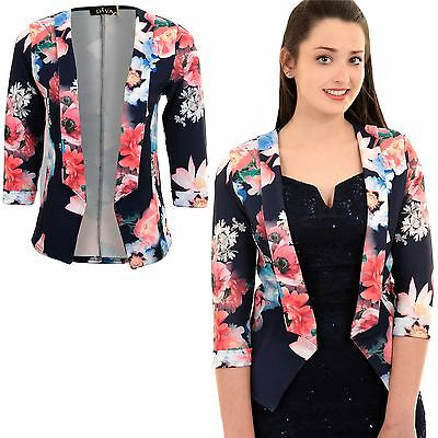Women's Floral Flower Open Front Multi Crepe 3/4 Turn Up Sleeve Blazer Jacket