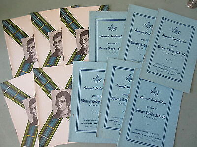17 Old 1950 Burns Lodge Annual Installation Booklets Masonic Halifax NS