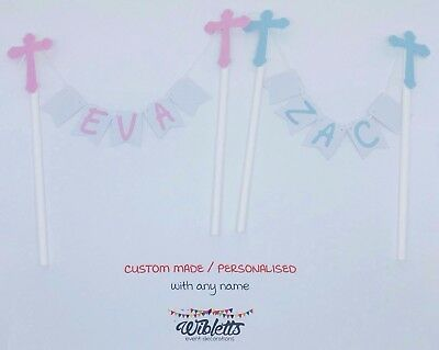 Cake Topper Bunting Custom Any Name, Naming Day Christening Baptism Blue Pink